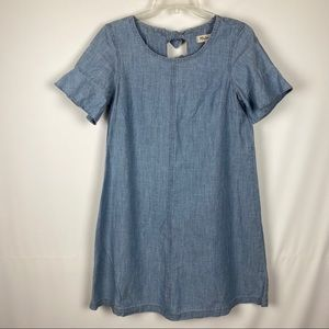 Madewell Chambray Dress Tie Back Blue Short Sleeve